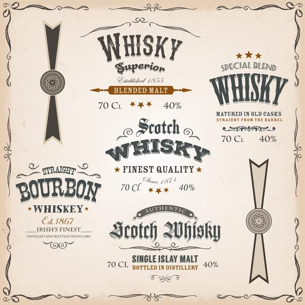 Examples of whisky labels and seals
